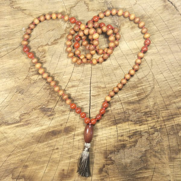 Red Jasper & Sandalwood Mala Necklace
