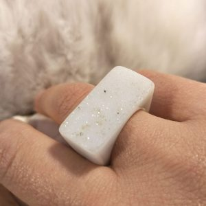 White Agate Carved Druzy Ring