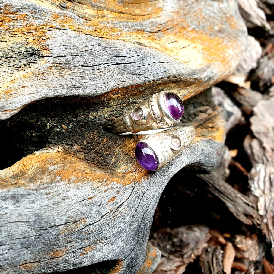 Amethyst Twin Flame Ring