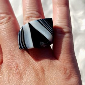 Banded Agate Midnight Ring