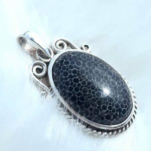 Black Coral 'Scarab' Pendant