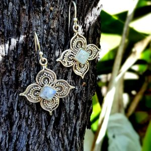 Moonstone 'Flower' Earrings
