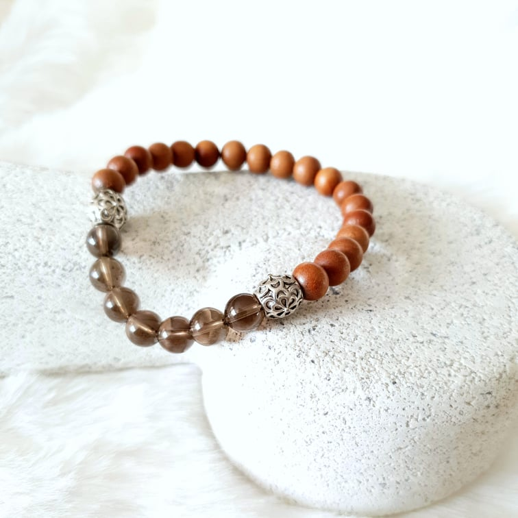 Smoky Quartz & Sandalwood Bracelet