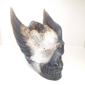 Natural Agate & Quartz Crystal Skull