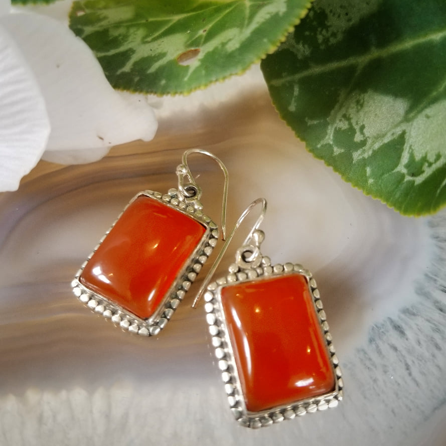 Orange Onyx Earrings