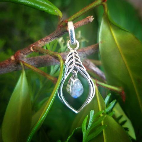 Silver Fern Moonstone Pendant